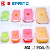 Zusammenklappbare Nahrungsmittelvorratsbehälter stellten erstklassiger Kasten-gesetzten (4 verschiedene Größen) Silikon-Mittagessen-Kasten ein