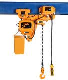 2 Tonnen-niedrige Durchfahrtshöhe-elektrische Kettenhebevorrichtung mit Laufkatze zwei