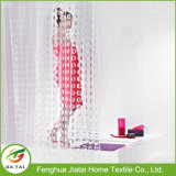 Personalizado White Clear PEVA Hookless Bath Shower Curtain