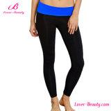 女性のSportwear青いFoldoverの中間のウエストの慰めのヨガのズボン