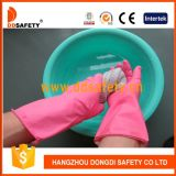 Ddsafety 2017 Pink Household Latex Spray Flock Alinhado Rolled Cuff Latex Luva Doméstica