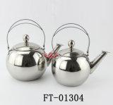 crisol de acero redondo del té de la maneta del acero inoxidable 3PC (FT-01304)