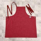 Grembiule pieno della busbana francese delle signore del denim di modo rosso del tessuto (RS-170301A)