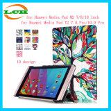 PU Huawei Mediapadのための革スマートな磁気カバーケース