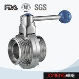 ステンレス鋼の衛生フランジを付けたようになった端3部分の蝶弁(JN-BV3001)