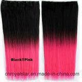 Pedazo y clips rectos largos del pelo de la extensión de la manera en la extensión del pelo
