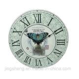 Часы стены Эйфелевы башни цветка кофеего деревянные