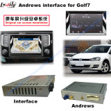 Androide del coche de navegación GPS Video Interface para VW Golf 7, Touran, Passat, Variant, (MIB2) Actualizar táctil de navegación, WiFi, BT, MirrorLink, HD 1080P, Google Map