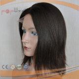 까만 색깔 간결 길이 레이스 정면 여자 가발, 100% 인간적인 Virgin Remy 머리 본래 색깔 의학 여자 가발