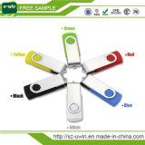 2016 무료 로고 플라스틱 펜 드라이브 스위블 USB 플래시 드라이브 (uwin-003)