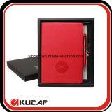 Cuaderno impreso A5 con el conjunto del rectángulo de la pluma y de regalo