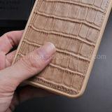 Caixa lisa do couro genuíno do teste padrão do crocodilo para o iPhone 6 positivo