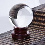 Grande bille en cristal de sphère avec la décoration à la maison de base en bois de Fengshui