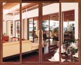 Balcon en aluminium de couleur en bois glissant la porte de pliage de Bi