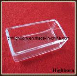 Plato de Petri cuadrado transparente del vidrio de cuarzo de la silicona para derretir
