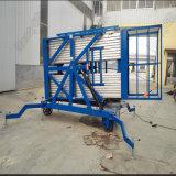 Teleskopisches Arbeits-Doppelt-Mast-Funktions-Tisch-Aluminiumlegierung-hydraulisches Höhenruder