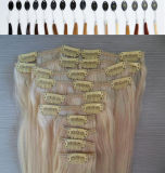 Hair Extensions Natural Hair Weft에 있는 꼬부라진 Blonde Clip