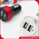 Carregador retrátil do carro do conetor duplo móvel do USB do telefone de pilha 2