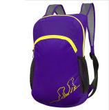 屋外の紫色の折る袋、子供のバックパック