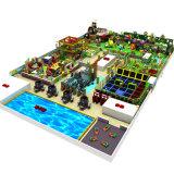 Cour de jeu en plastique, glissière avec la cour de jeu de combinaison d'oscillation
