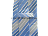 Gravata de seda da listra azul e branca para o adulto