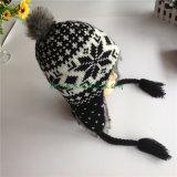 100%のEarflapレディースEarflapの帽子を編むアクリルの特別なヤーンによって編まれる高品質の最もよい価格