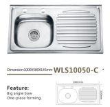 Шар раковины кухни нержавеющей стали одиночный одноплатный - Wls10050-C