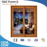 Qualité avec la porte coulissante en aluminium en verre Tempered de prix usine