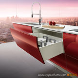 Gabinete de Cocina MDF Color Rojo Laqueado Brillante (OP12-L062)