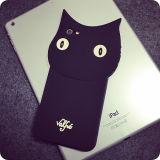 Caja caliente del silicón del gato negro de la historieta 3D para iPhone6