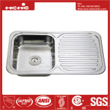 32-1/4 x 18-3/4ステンレス鋼の上の台紙下水管のボードが付いている単一ボールの台所の流し