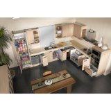 De moderne Modieuze Houten Keukenkasten van de Melamine van de Korrel met de Kasten van de Vloer
