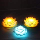 Floating Garden piscina Uso romántico de la flor de loto con LED multicolor