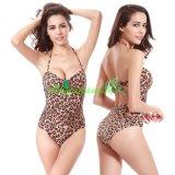 Leopard-Drucken reizvolles einteiliges Swimwears für Frauen