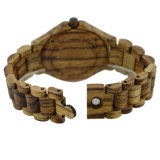 Montre du bois de logo d'agrafe de léopard de santal en bois fait sur commande de configuration