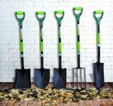 Herramientas de jardín de alta calidad Rastrillo de hoja de acero de carbono con mango de fibra de vidrio