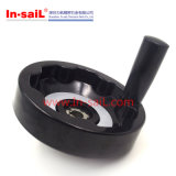 取り外し可能なハンドルが付いている黒い円形のベークライトの回転の手動ハンドル