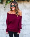 2017 mulheres projetadas novas do outono da mola descobrem a camisola feita malha ombros (17204)