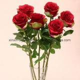 대규모 고품질 단 하나 줄기 잎의 4 세트를 가진 실크 실제적인 접촉 로즈 인공 꽃 장식적인 꽃