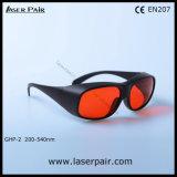 Alta densidad óptica 200-540nm del excímero, ultravioleta, anteojos de seguridad verdes de los vidrios de protección de laser /Typical para 532nm con el marco negro 33