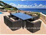 6 Seaterの藤のテラスの庭の屋外の食事の家具