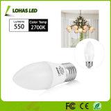 bombilla de la vela blanca lechosa del shell 3000k 6000k E26 E27 LED de 3W 5W 6W