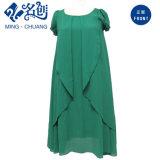 Vestito di mezza età d'Impilamento-in su verde da modo del Rotondo-Collo Demure