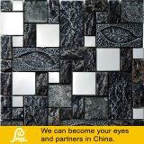 Mosaico di vetro nel nero e Brown con il disegno di figura di foglio