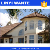 A telha de telhado do metal com pedra revestiu