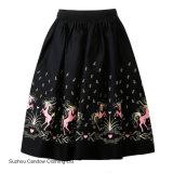 Женщины a - линия плиссировала юбки печати пониа размера качания одного танцульки сбор винограда