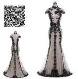 Vestido do baile de finalistas do cetim do trem da varredura da Elevado-Garganta da trombeta/sereia com Applique