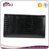 Черный бумажник для женщин, высокого качества неподдельная кожи бумажника конструкция кожи змейки цвета длиной тонкая