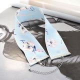 De pano cor-de-rosa branco da impressão do azul de marinha colar larga Chiffon do Choker