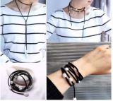 De populaire Met de hand gemaakte ZoetwaterHalsband van de Nauwsluitende halsketting van het Leer van de Parel